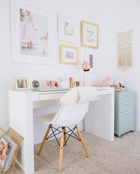 beautiful home office ideas - bright and all white