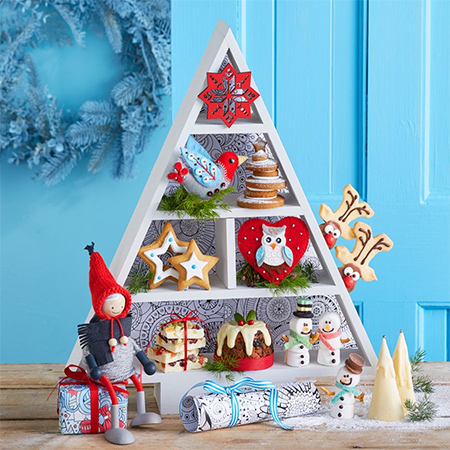 Here's an easier way to make a triangular shelf, and the shape is perfect for displaying festive decorations.