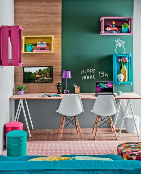 beautiful home office ideas - colourful walls and accessories