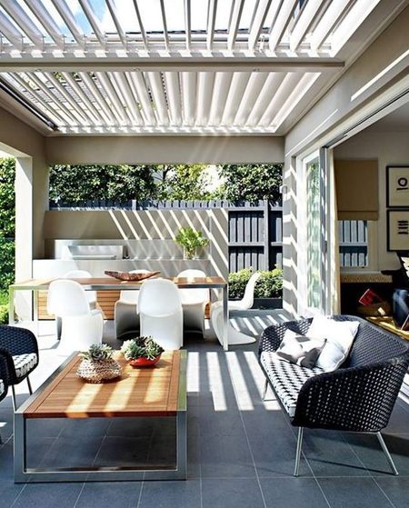 Home dzine garden ideas create an indoor look for outdoors - Houses attic enclosed kitchen ...