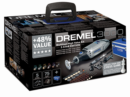 The Dremel 3000 MultiTool is now available in a range of kits from 3- to 5-star. Choose the kit that best suits your needs.