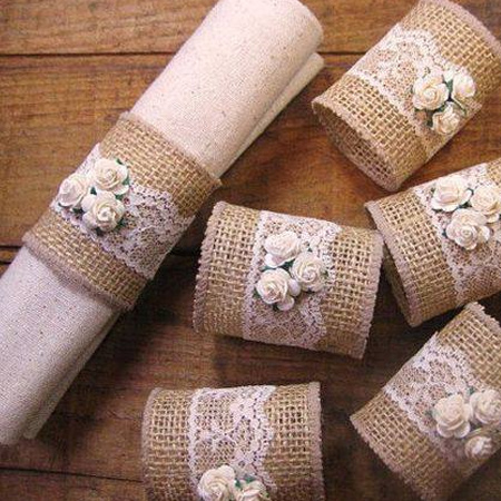add an extra element to your dining table with burlap serviette rings, or wrap plain glass accessories with burlap, lace and ribbon.