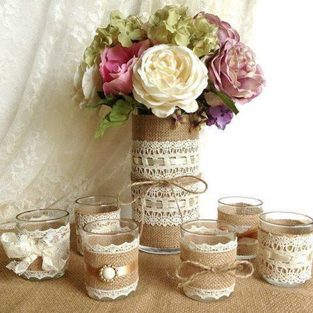 Don't stop now... add an extra element to your dining table with burlap serviette rings, or wrap plain glass accessories with burlap, lace and ribbon.