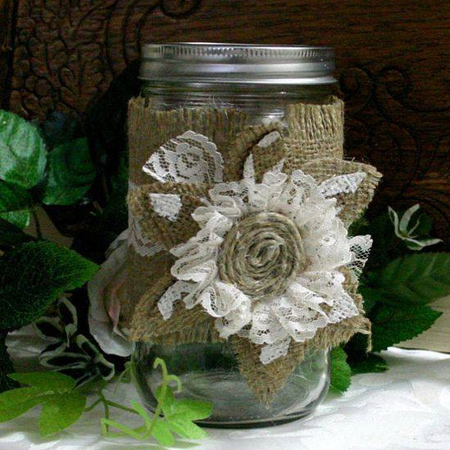 If you have any scraps left over from larger projects, use these to decorate recycled glass jars