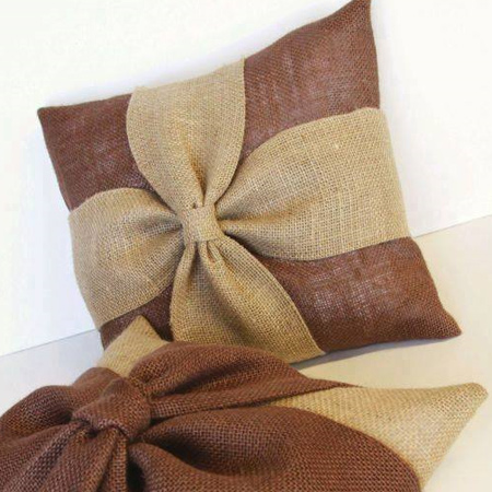 Decorative cushions are another idea for using burlap for home decor.