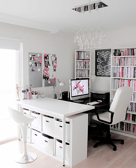 beautiful home office ideas - black and white with pink accents