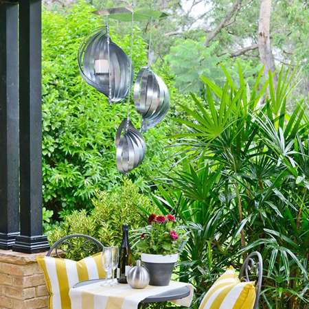 DIY patio chandelier made using galvnanised tin