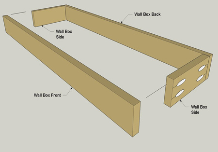 1. See diagram below to assemble the wall box front, back and side sections using wood glue and pockethole screws.