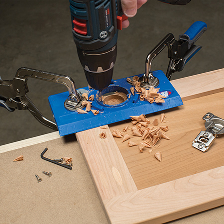 The Kreg Concealed Hinge Jig and 35mm Hinge Bit makes it easy to install concealed and Euro cabinet door hinges for doors. The Concealed Hinge Jig and Bit provides accurate, consistent drilling using a drill / driver.
