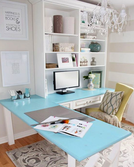 beautiful home office ideas - Turquoise desk top in white room