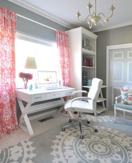 beautiful home office ideas - shades of white, pink and grey