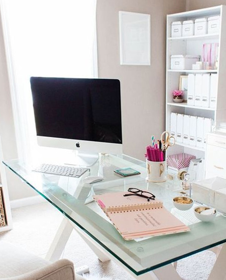 beautiful home office ideas - glass topped desk ideal for small space