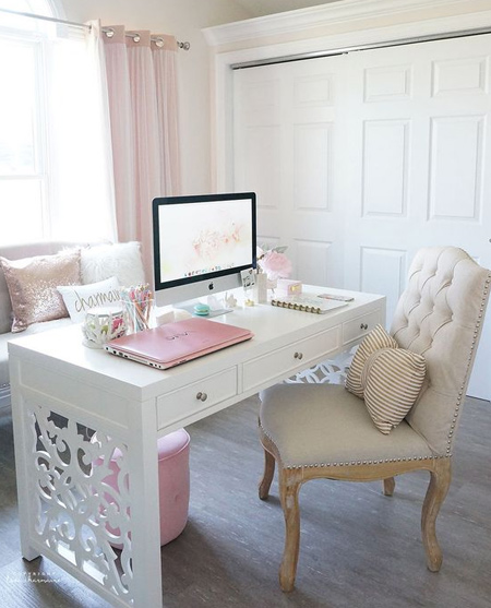 beautiful home office ideas - gorgeous desk with cut out side panels