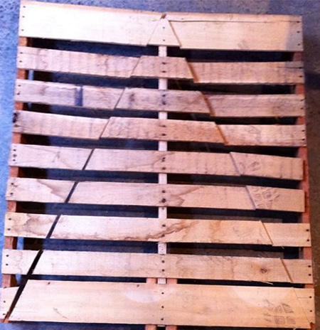 When working with wooden pallets it is important to do it right. It's safety first when cutting pallets, so be sure to remove any nails that will interfere with the cutting process to cut the pallets down to size or to shape them.