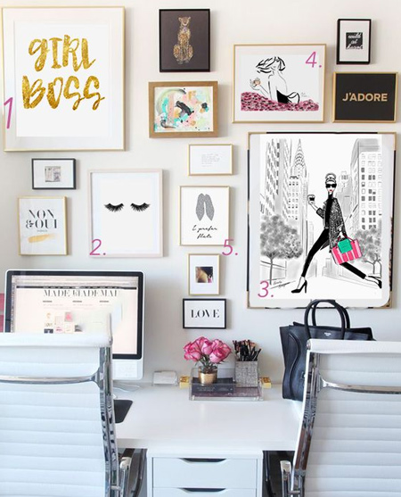 beautiful home office ideas - use walls for organisation