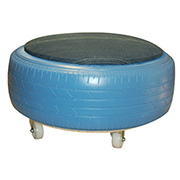 Tyre ottoman with jeans fabric seat