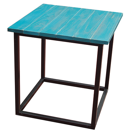 For the original project, I made the steel frame table using Connect-it connectors and powder coated square tube and finished this off with Rust-Oleum Chalked ultra matte spray paint.  Click here for instructions on how to make the steel frame for the table.
