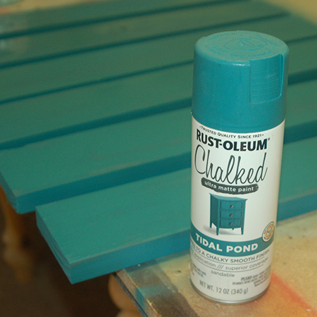Put down a drop cloth or newspaper to spray the assembled table top with Rust-Oleum Chalked spray paint.