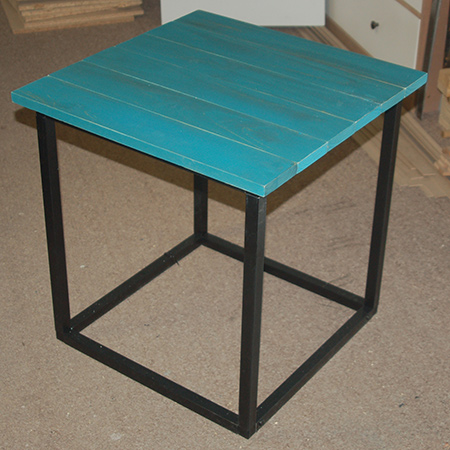 completed steel frame side table