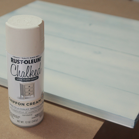After spraying with the base colour, apply Rust-Oleum Chalked Linen White or Chiffon Cream.