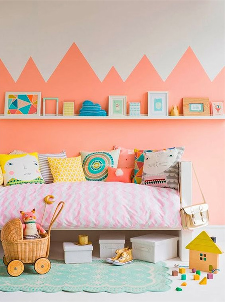 If you still haven't built up enough energy to paint walls with a chevron pattern - hurray! Chevron is out and zigzags are a fun way to use paint to add fun detail to walls, especially in a child's bedroom.