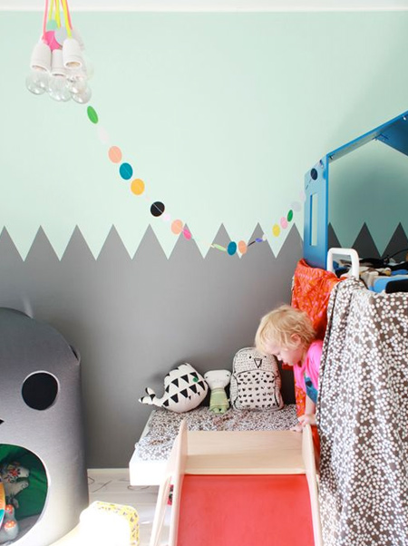 grey zigzag design on child's bedroom wall
