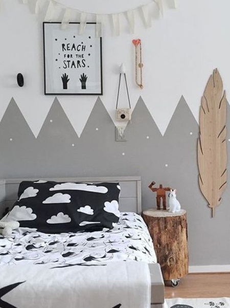 shades of grey zigzag design on child's bedroom wall
