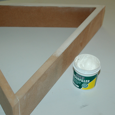 If you plan on spray painting the shelf, which I did, rub wood filler over the cut edges to reduce absorption.