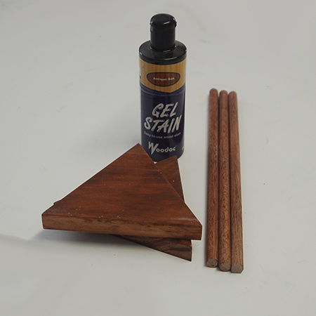 I used Woodoc Gel Stain - Antique Oak - on all the pieces. Apply using a sponge or rag and work with the grain for a nice, even finish on my string and wood light or lamp