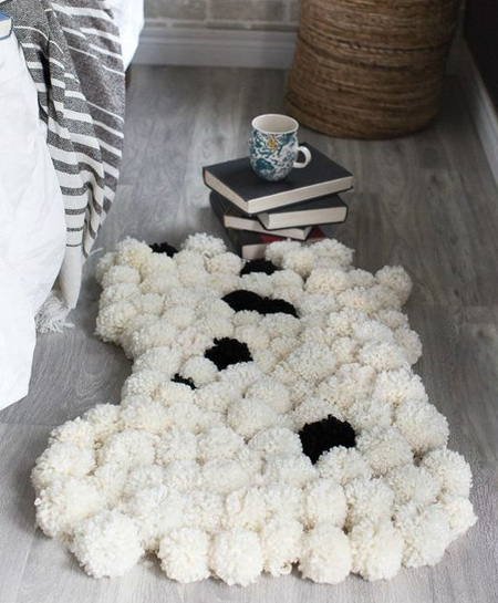 black and white pom pom rug for bedroom