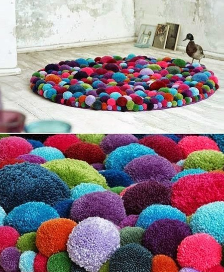colourful pom pom floor rug