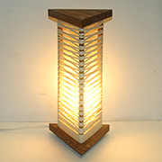 Lamp made using string and wood