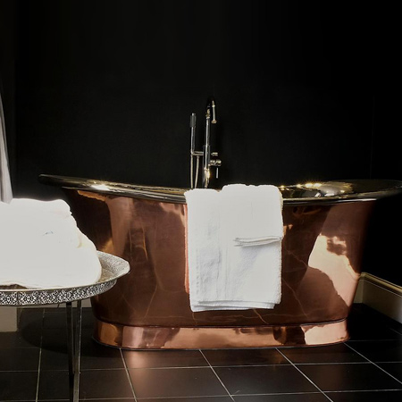 This range of copper, cast iron, steel and mosaic baths transforms any bathroom into a luxurious hotel-worthy space.