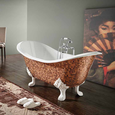 Today's modern cast iron bathtubs come in a variety of shapes and styles; from claw foot bathtubs that feature sleek design, and can even be finished with mosaic tile detail.