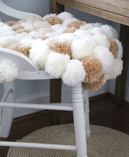 pom-pom seat for a soft, luxurious place to sit