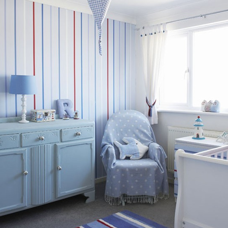 Wallpaper is a playful way to add colour and pattern to a nursery is to use wallpaper. Alternatively, you can use paint techniques or vinyl wall stickers to make a feature wall that will grab attention. However, while it's fun to incorporate pattern in a smaller nursery - limit this to just one feature wall