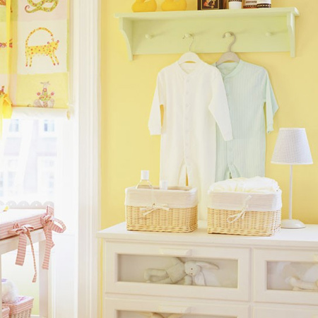 Soft, buttery yellow is the perfect colour if you want to decorate a gender neutral nursery. You can still introduce other subtle colours later on. In colour psychology, yellow hues promote concentration and is a happy, cheerful colour perfect for a nursery