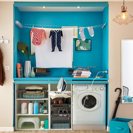 Finding space in a small home for a laundry nook or place to hang laundry on rainy days can be difficult. We offer a dual-purpose solution to the problem.