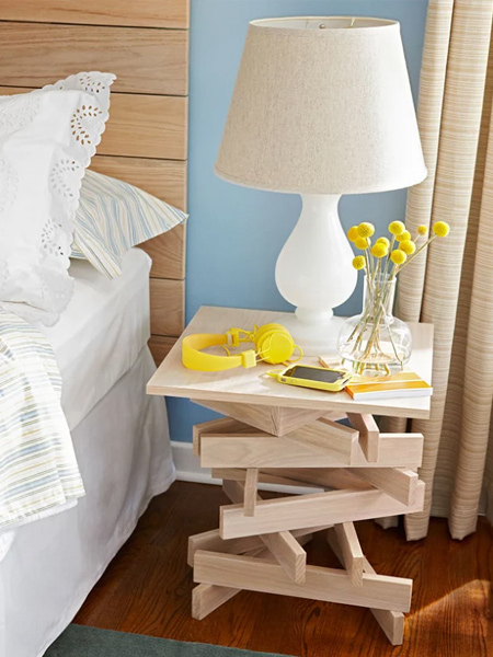 This quick and easy table is an arrangement of pine planks carefully arranged and glued in place for a quirky table that is perfect for a teen bedroom