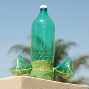 Recycled plastic bottle bird feeder