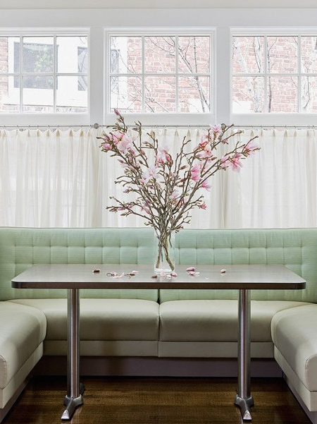 Sheer curtains can be hung from floor-to-ceiling, or to cover only a section of window, such as tall windows in a passage or hallway, to offer a private dining space, or to block sunlight in a room that receives too much sun.