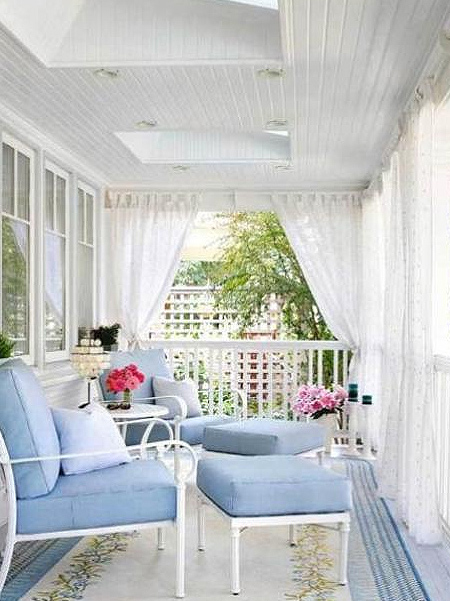 Dress up a patio, deck or porch with elegant sheer drapes that add shade without blocking out too much natural light and still allow cooling breezes to flow through the space