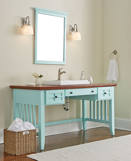 Here's a bathroom vanity made from a repurposed desk that is surprisingly easy to make. Apply a new coat of paint, cut a hole for the basin, ...