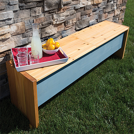 This outdoor storage bench is perfect for a deck or patio where you need extra storage, seating or a table. It looks great and will hold up well outdoors if properly treated. Lift-off panels allow for easy storage.