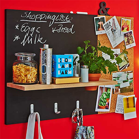Handy for a kitchen, home office or children's bedroom, this practical wall organiser is easy enough to make and includes a blackboard, pinboard, shelf and hanging storage.