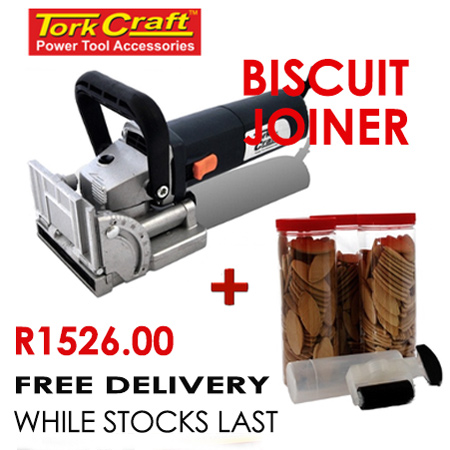 Tork Craft Biscuit Joiner plus 375pc biscuit packs