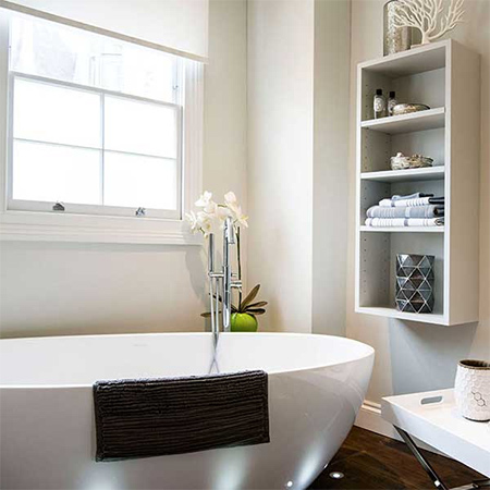 Today's bathrooms don't need to include a large, space-hogging bathtub - unless you prefer to soak - and you can put any savings you make on leaving out a tub towards a luxury shower. If you prefer to spend time soaking in a tub, shop around for a comfortable, deep tub that really lets you take time out and relax and design the space to let the tub take centre stage.