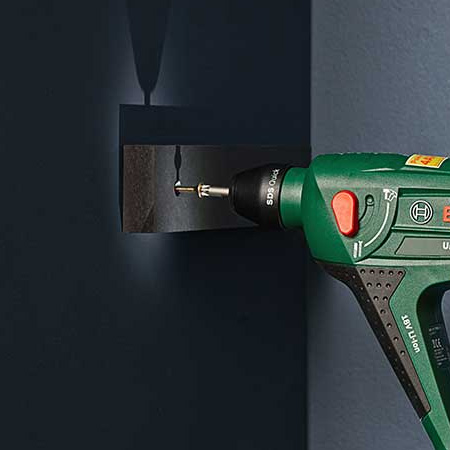 Drill 8mm holes (if using SX8 wall plugs) into the wall where marked for the back and side supports. A Combi Drill is ideal for this, as it can be used as a screwdriver, drill and has a hammer function for drilling into masonry.