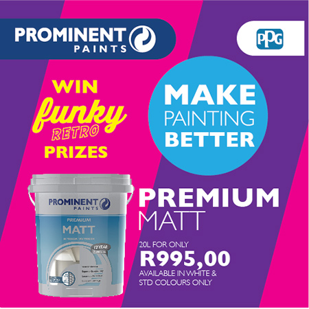 The products on promotion are available at all 17 Prominent Paints Centres nationwide and over 300 paint retailers that stock the brand, all at ridiculously low prices. And what better time than winter to tackle home DIY improvement projects