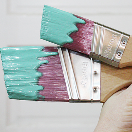 Before you beging painting, wet your brush in clean water and then blot away excess water. This will help to keep paint wet when creeping up into the ferrule (the metal the bristles are attached to) and save your brush. It will also make it easier to clean out all the paint once finished.